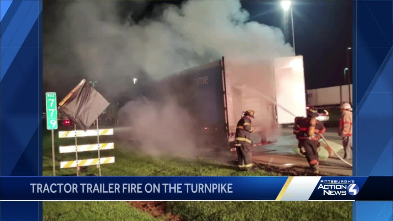 Tractor-trailer fire creates big mess at turnpike service plaza in Westmoreland County