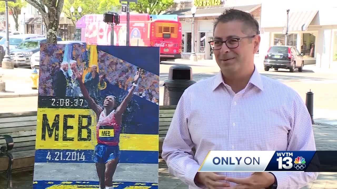 Only On 13: Alabama artist paints runner's winning moment in 2014 Boston Marathon