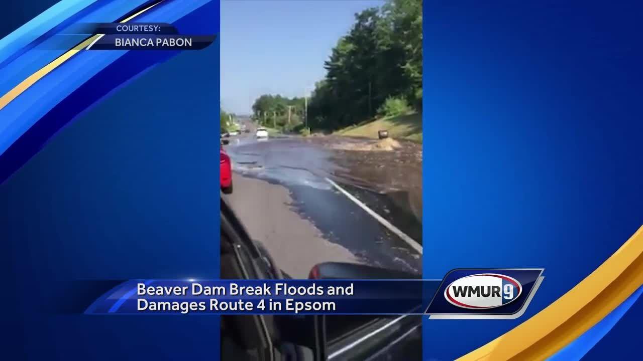 Beaver dam break floods, damages Route 4 in Epsom