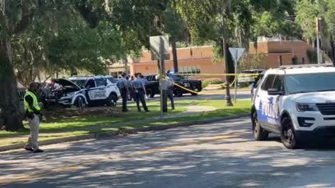 Crash scene after Savannah officer-involved shooting