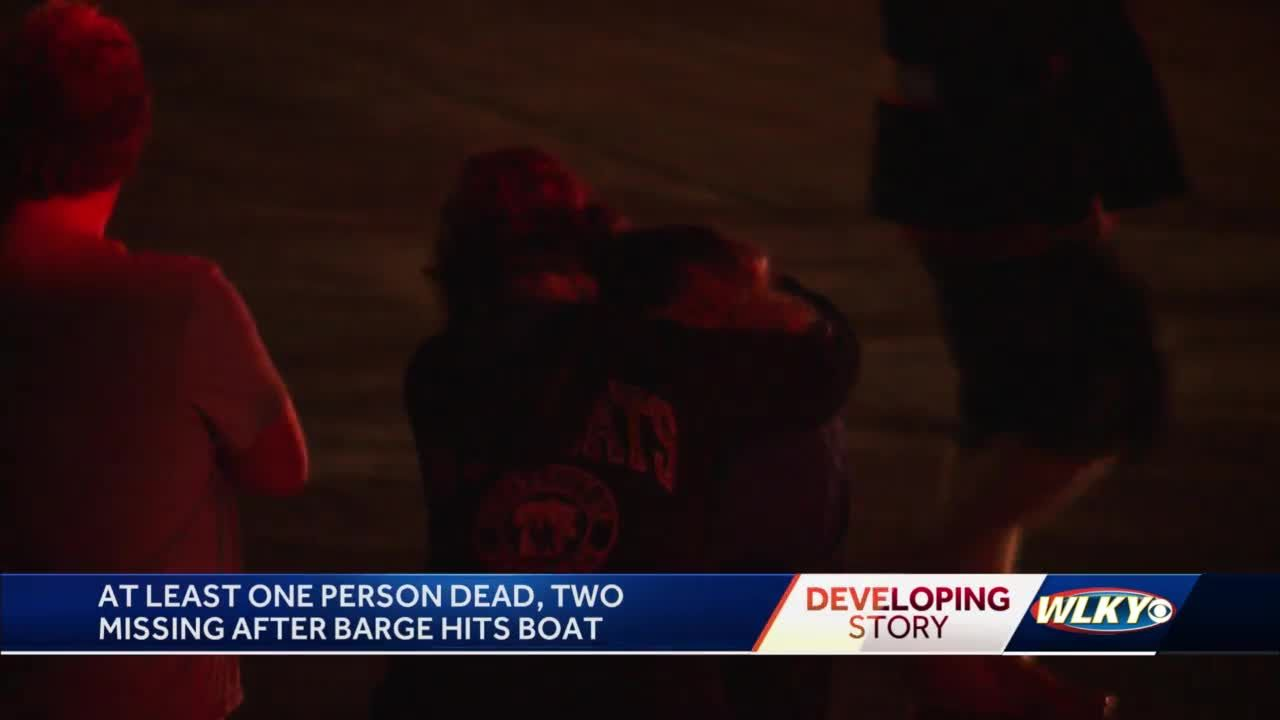 One person killed, two remain missing after a boat and a barge collided at the Greenwood Boat Docks