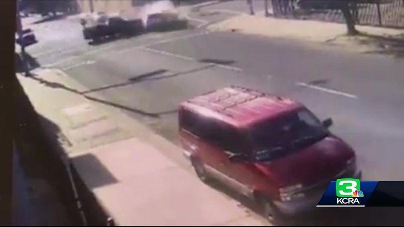Surveillance video records deadly street racing crash in Stockton