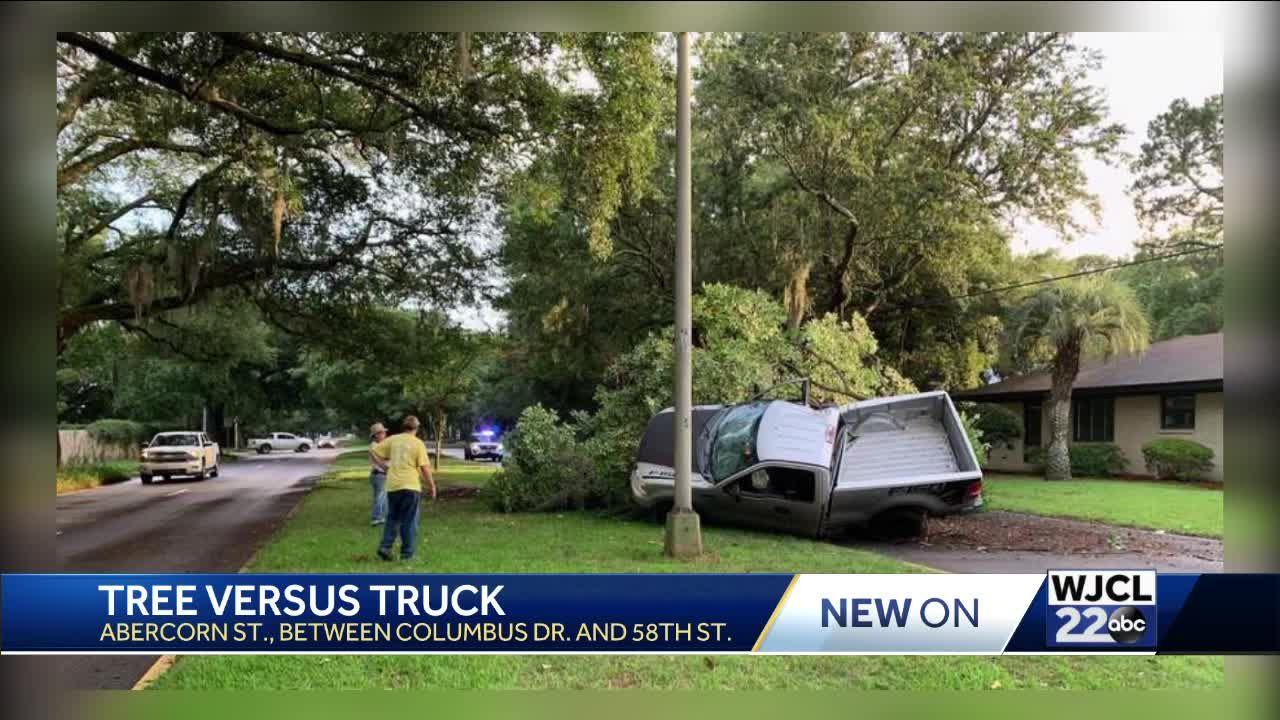 Savannah police respond to vehicle vs. tree crash on Abercorn Street