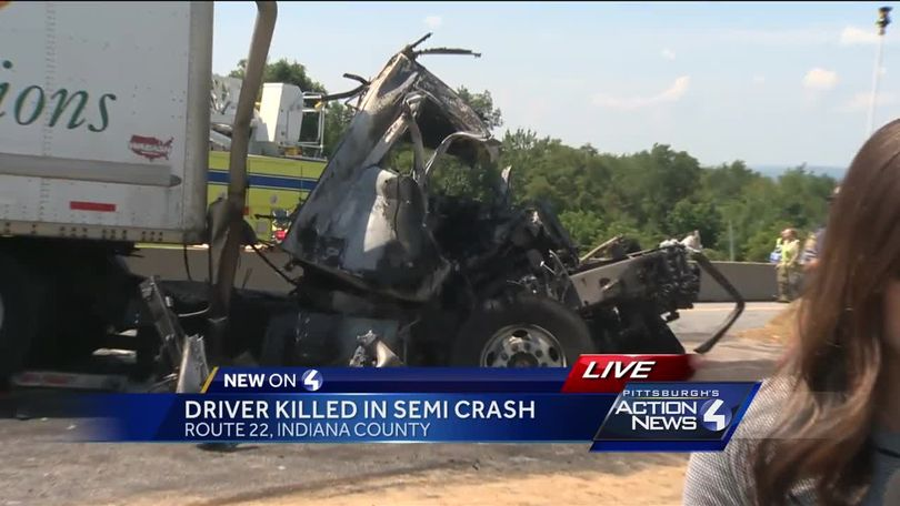 Tractor-trailers involved in fiery, fatal crash on Route 22