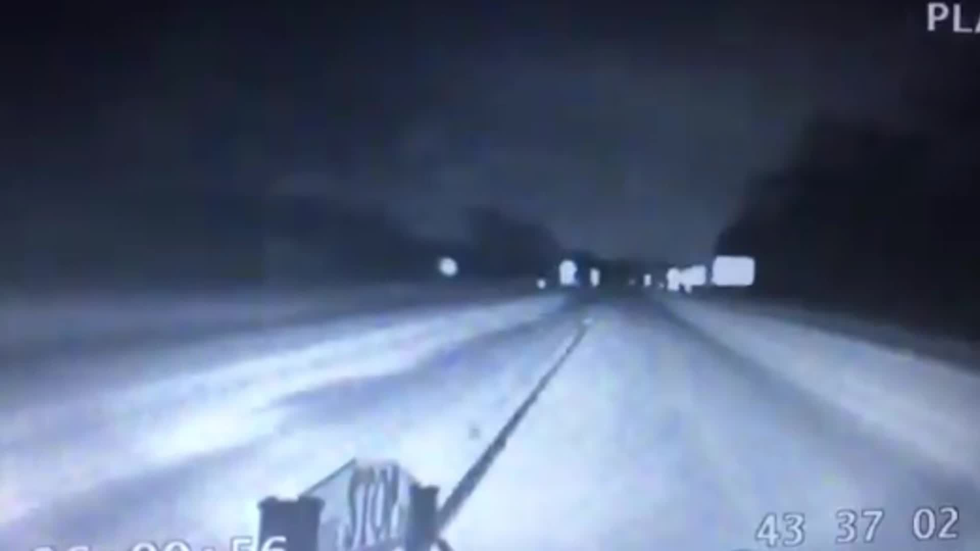 Incredible Trooper Nearly Collides With Group Of Deer Crossing Road