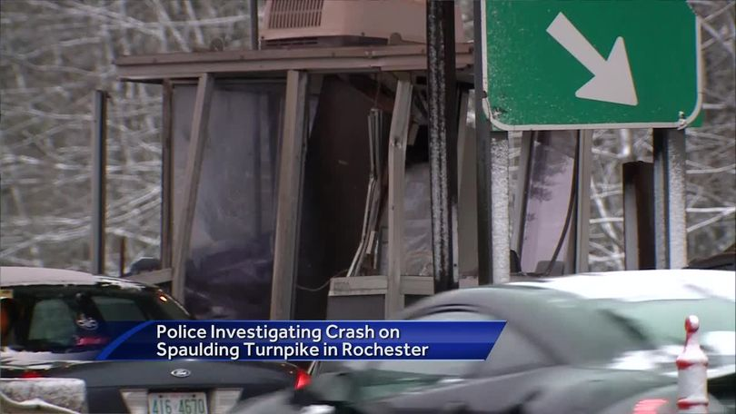 Large truck strikes Spaulding Turnpike toll booth