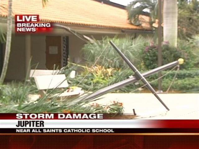 Storm Causes Damage Near All Saints Catholic School