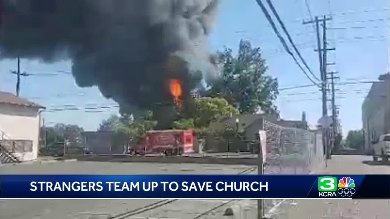 Good Samaritans help save church after fire at Sacramento tire shop spreads
