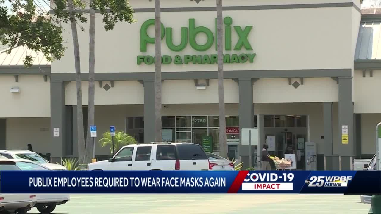 Publix employees required to wear face masks again
