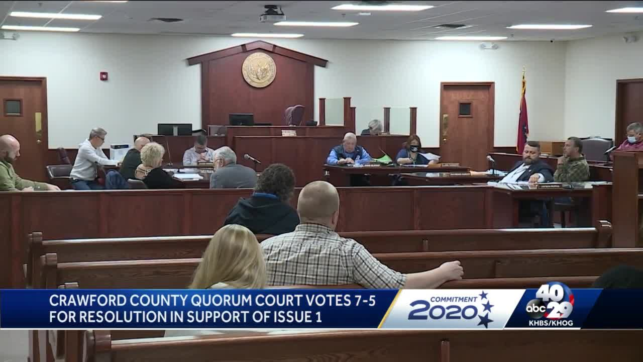 Crawford County quorum court votes 7-5 for resolution in support of Issue 1