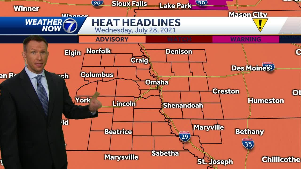 Heat Advisory continues Wednesday, some relief in sight