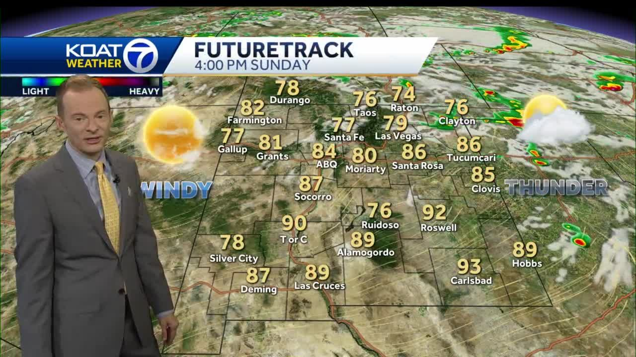 Warm with gusty showers & storms