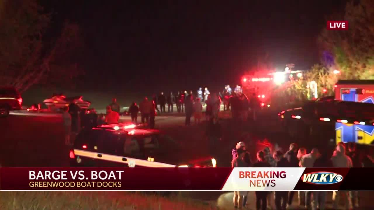 Emergency crews remain at Greenwood Docks after boat struck by barge