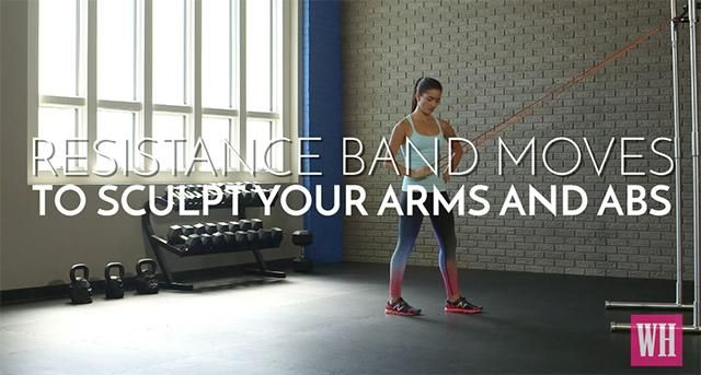 Sculpt Flat Abs And Tight Arms With These 5 Resistance Band Moves