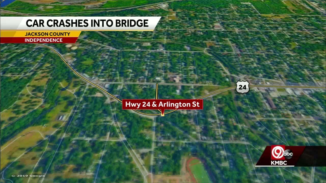 Two injured after car crashes into railroad bridge in Independence