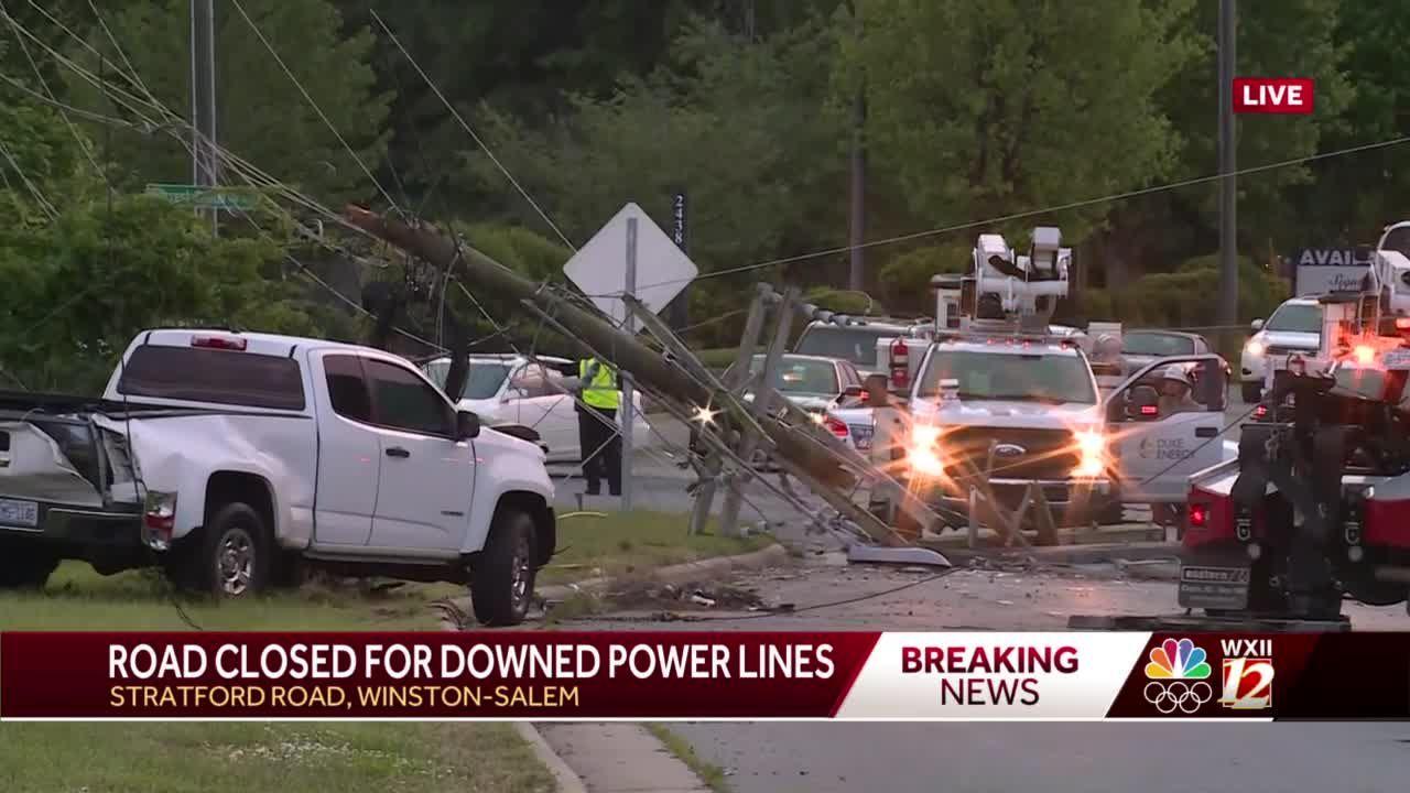 Crash damages utility poles on Stratford Road in Winston-Salem
