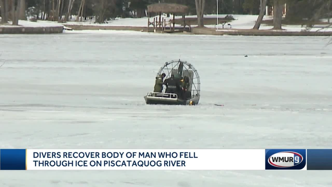 Divers recover body of man who fell through ice on Piscataquog River