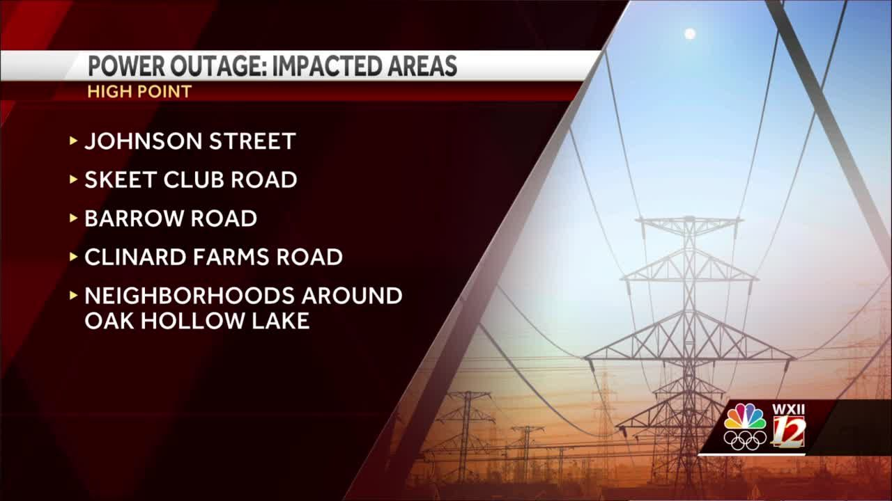 High Point: Nearly 2,000 Duke Energy customers without power after overnight outages