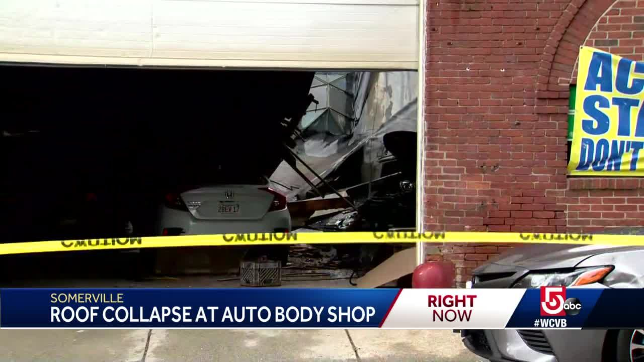 Roof collapses at auto body shop