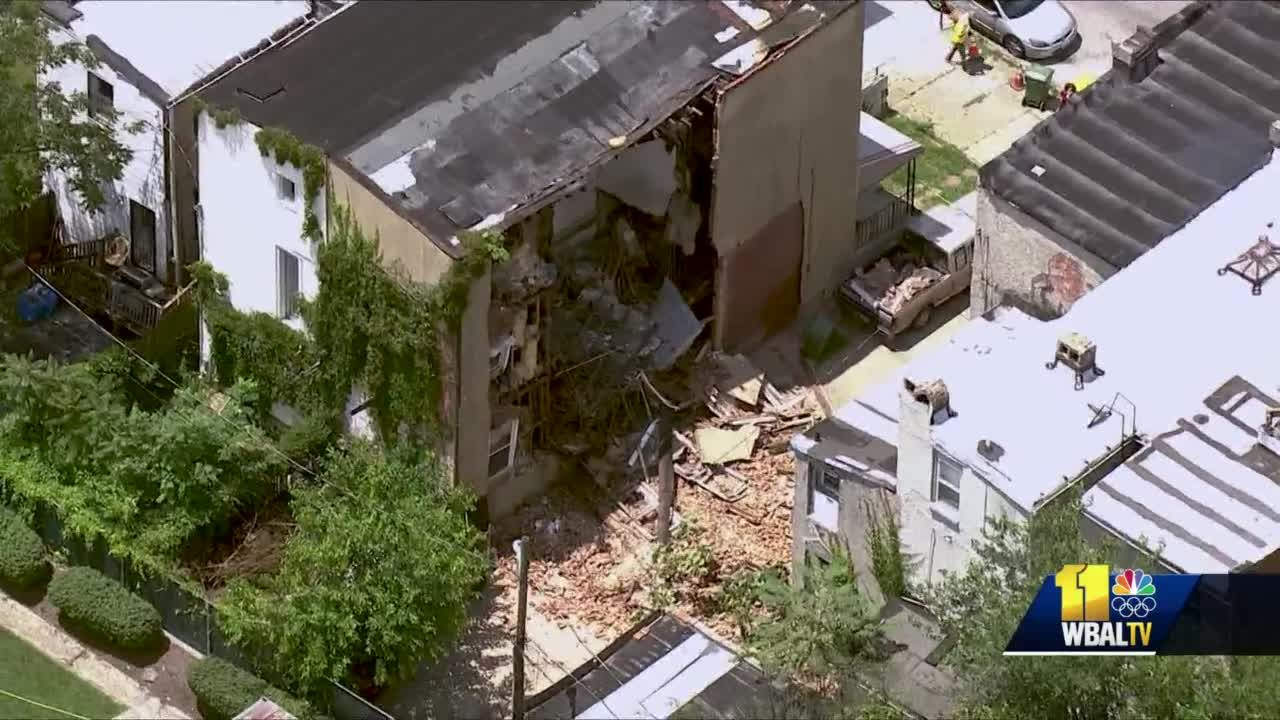 Vacant rowhome partially collapses on McMechen Street in West Baltimore