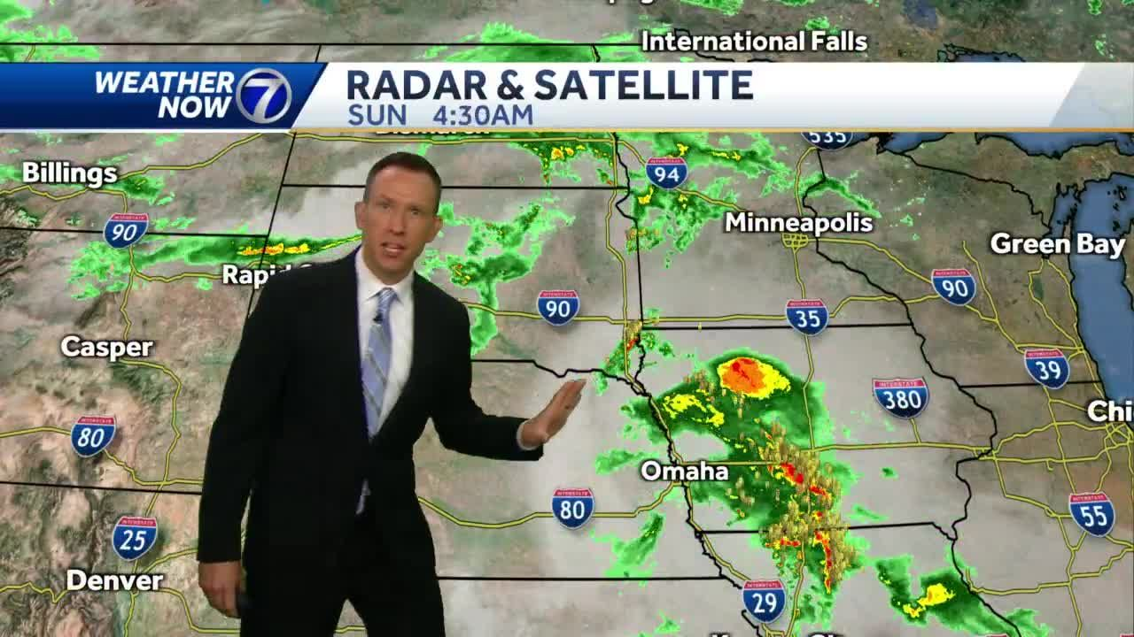 Early rain Sunday, spotty storms possible later today