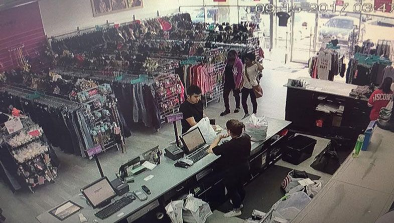 Shoplifters Caught On Camera Stealing Clothes From Two Resale Shops