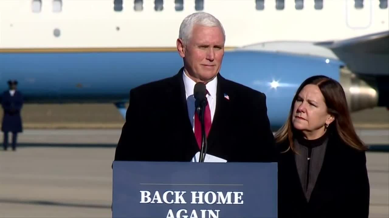 Full video: Former VP Mike Pence and former Second Lady Karen Pence return home to Indiana