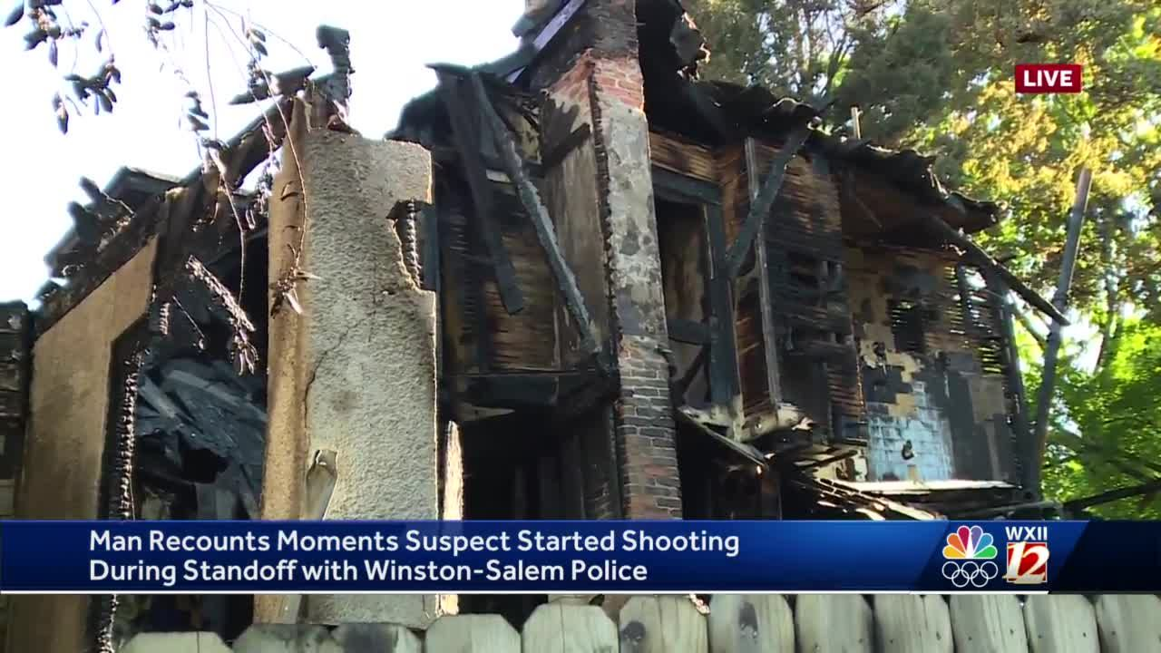 Resident of house burned in Winston-Salem shootout with police says he was inside when shots were fired