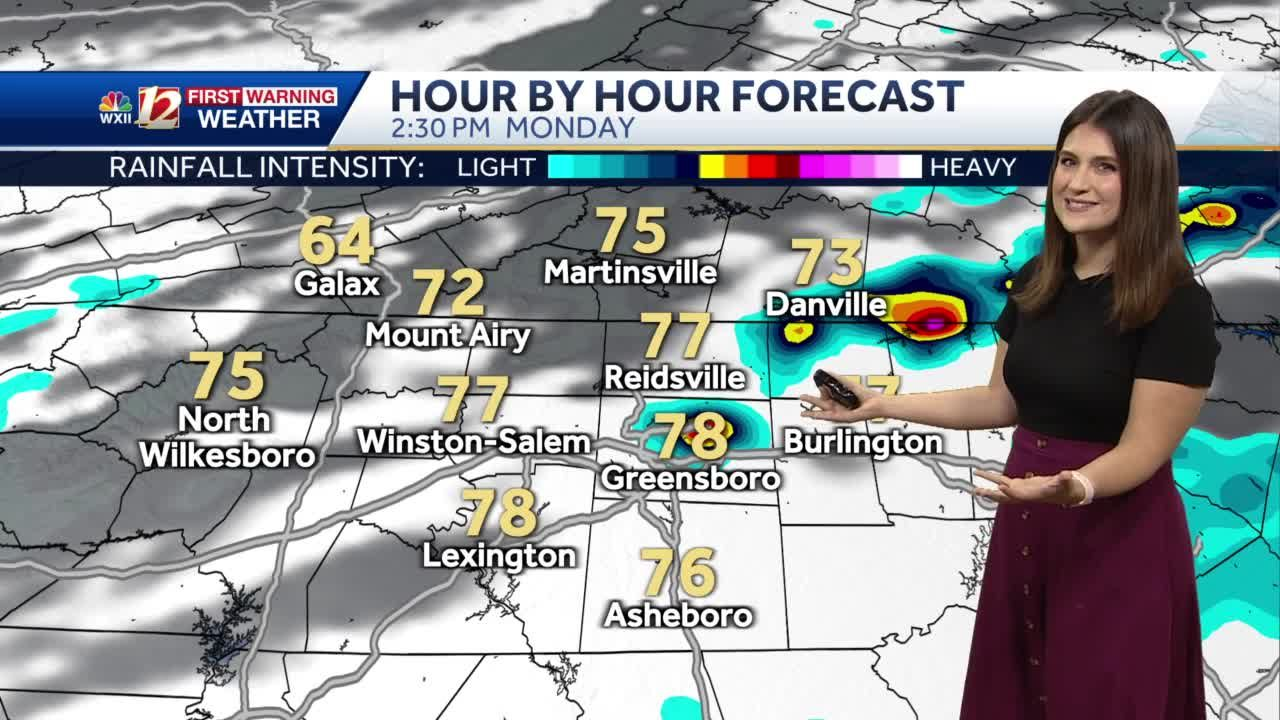 WATCH: Storms approach parts of the Piedmont Triad Monday afternoon