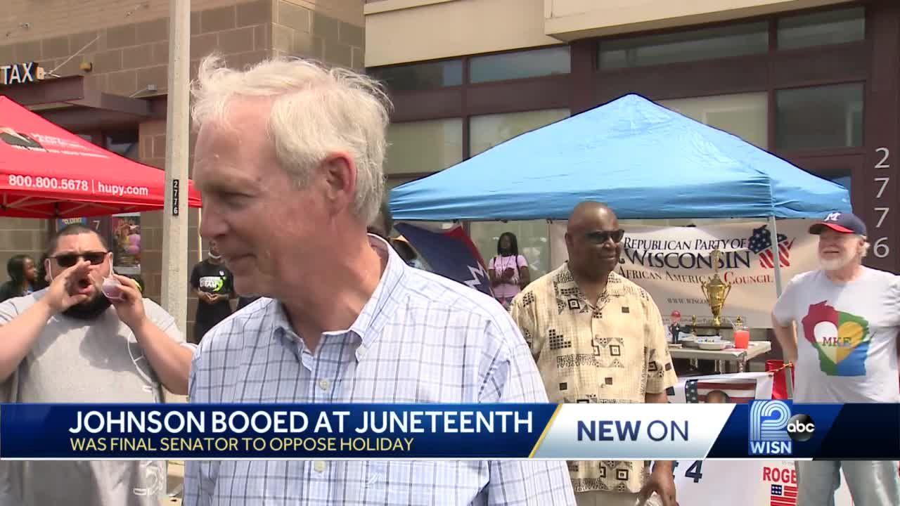 Some people boo U.S. Sen. Johnson at Juneteenth celebration