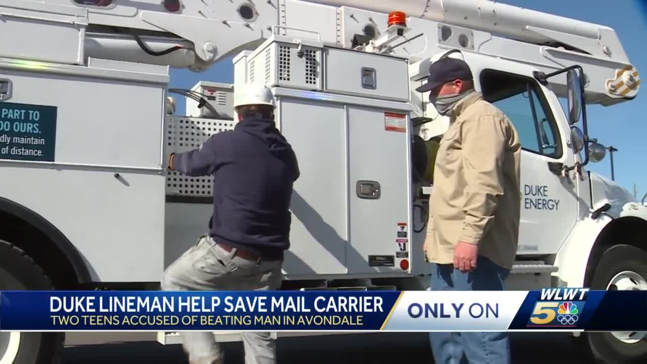 Duke Energy linemen save postal worker being beaten on the job