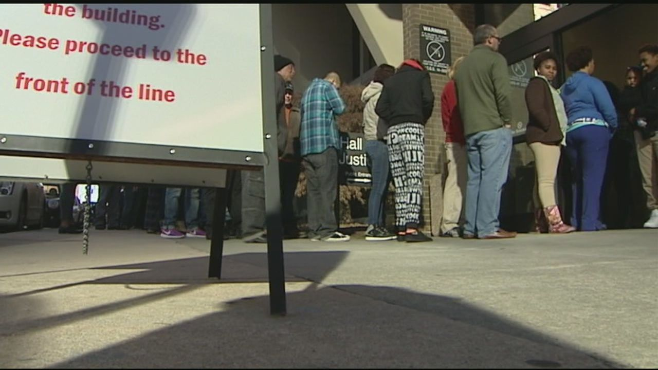 Long Lines at the Forsyth County Courthouse