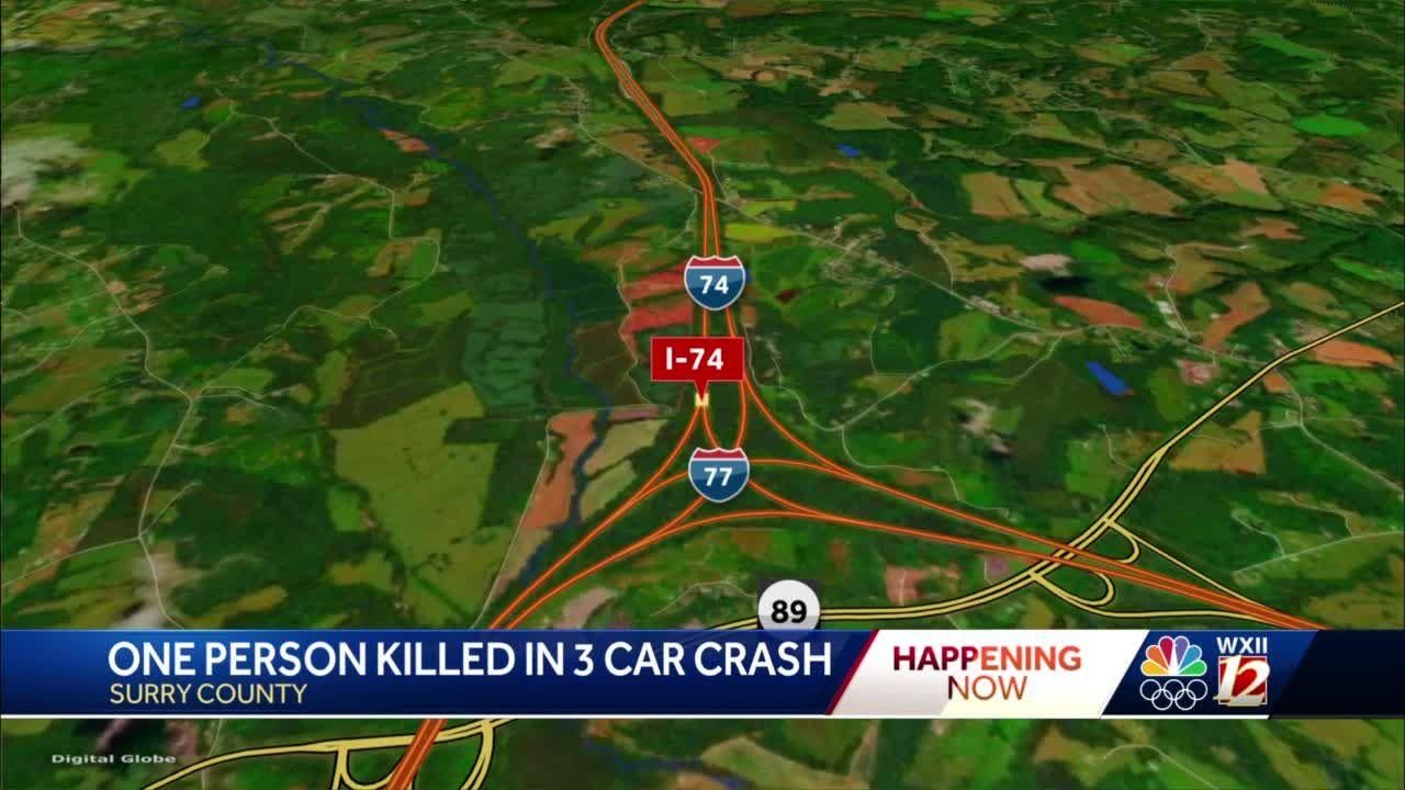 Surry county interstate 3-car crash kills 1 person