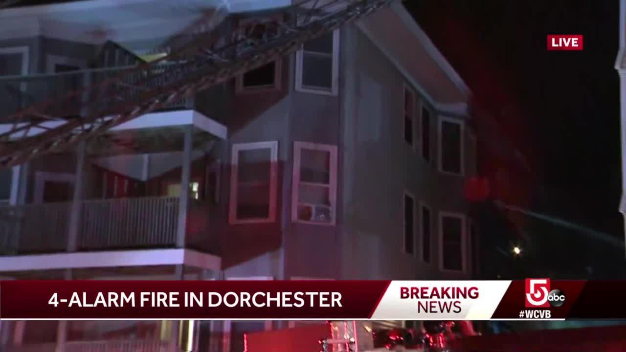 Crews battle 4-alarm fire in Dorchester