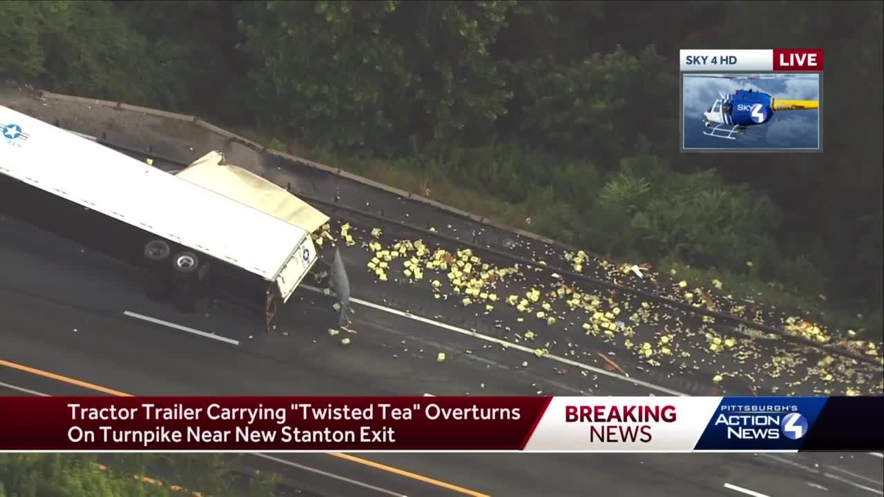 Tractor trailer carrying Twisted Tea overturns on the PA Turnpike