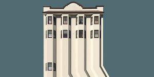 """En la serie de imágenes """"hiperrealidad americana"""", el arquitecto y diseñador estadounidense Eric Randall Morris,    distorsiona los edificios estadounidenses con el objetivo de cuestionar las representaciones de la América idílica."""