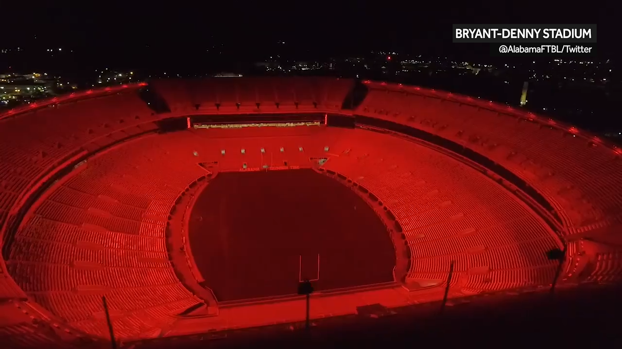 Alabama Football Bryant Denny Stadiums New Led Lights