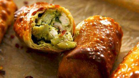 air fryer avocado spinach artichoke egg rolls