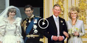 Bodas Carlos de Inglaterra, Boda lady Diana, Boda Camila Parker y Carlos, Reina Isabel II de Inglaterra, secuencias históricas Carlos de Inglaterra