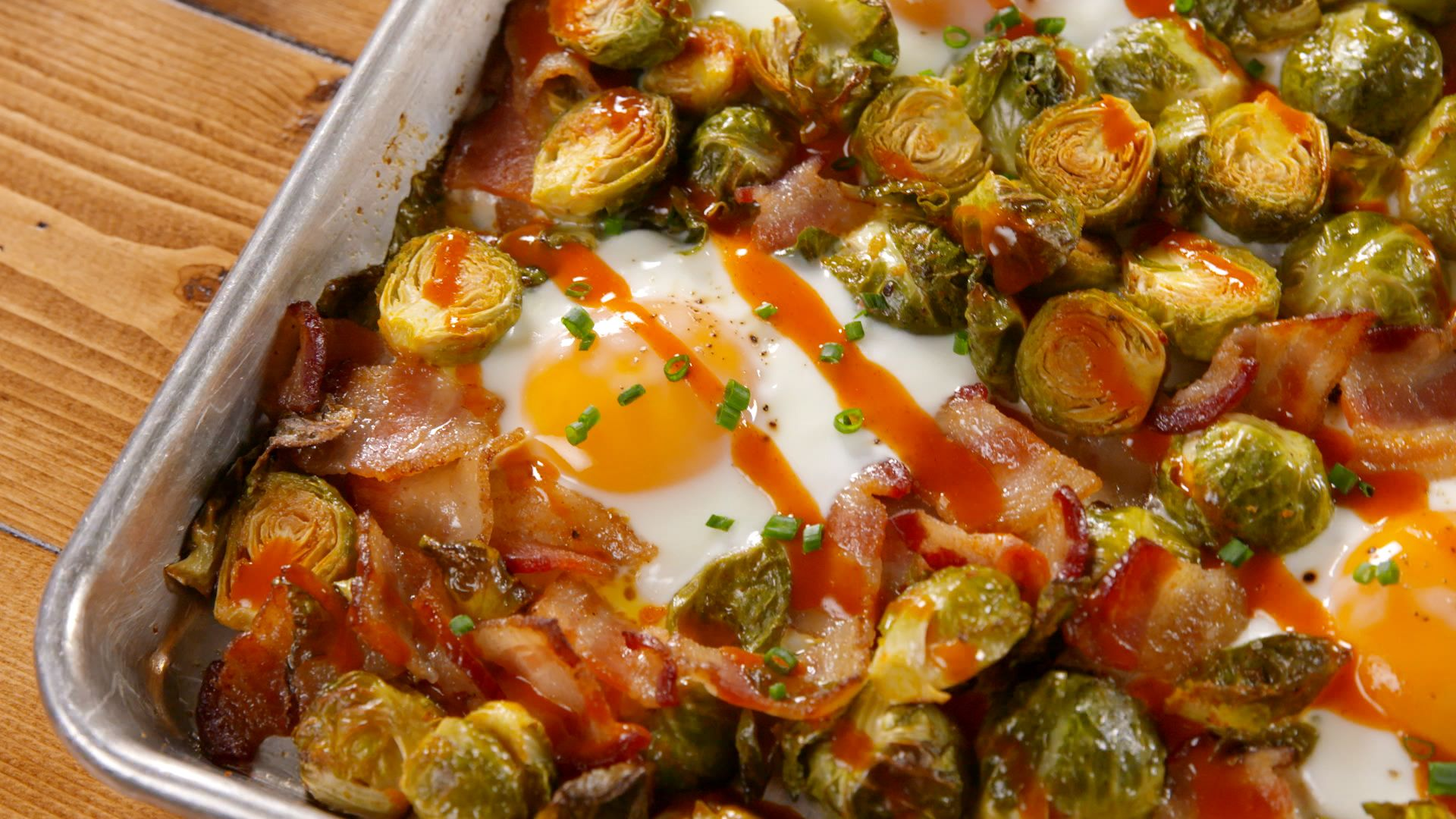 Sheet Pan Brussels Sprouts Bacon Egg Hash