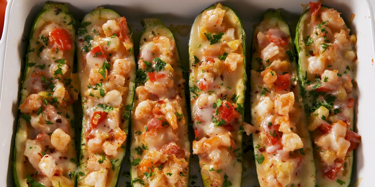 Best Garlicky Shrimp Zucchini Boats Recipe How To Make