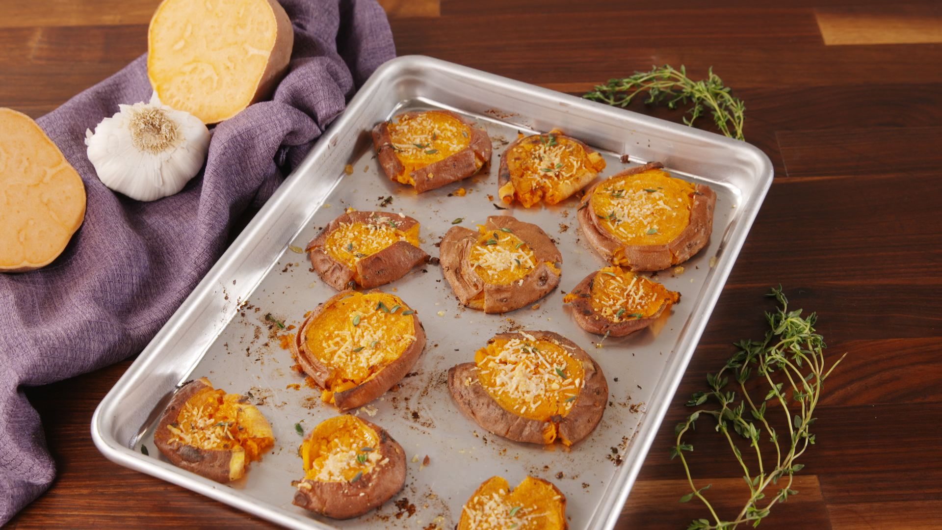 We Can't Stop Eating These Smashed Sweet Potatoes