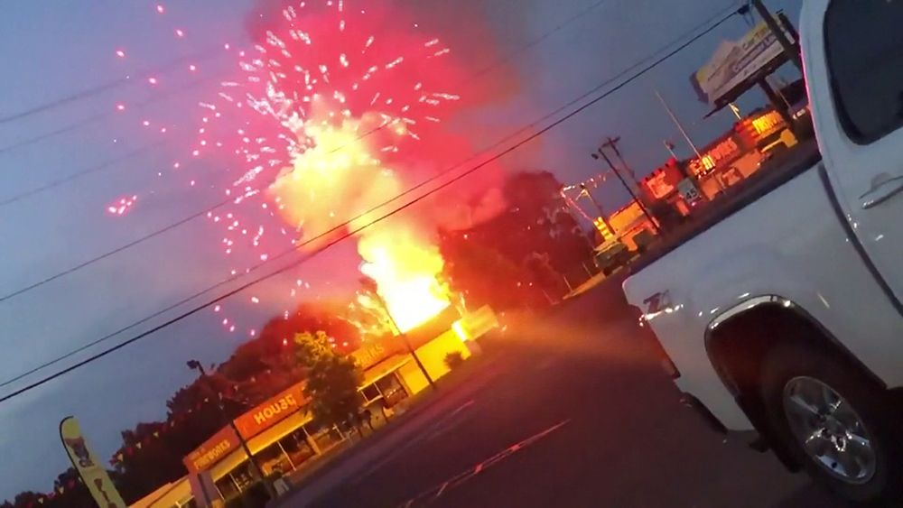 Video: Fireworks, flames and smoke pour into sky after accident at South  Carolina store