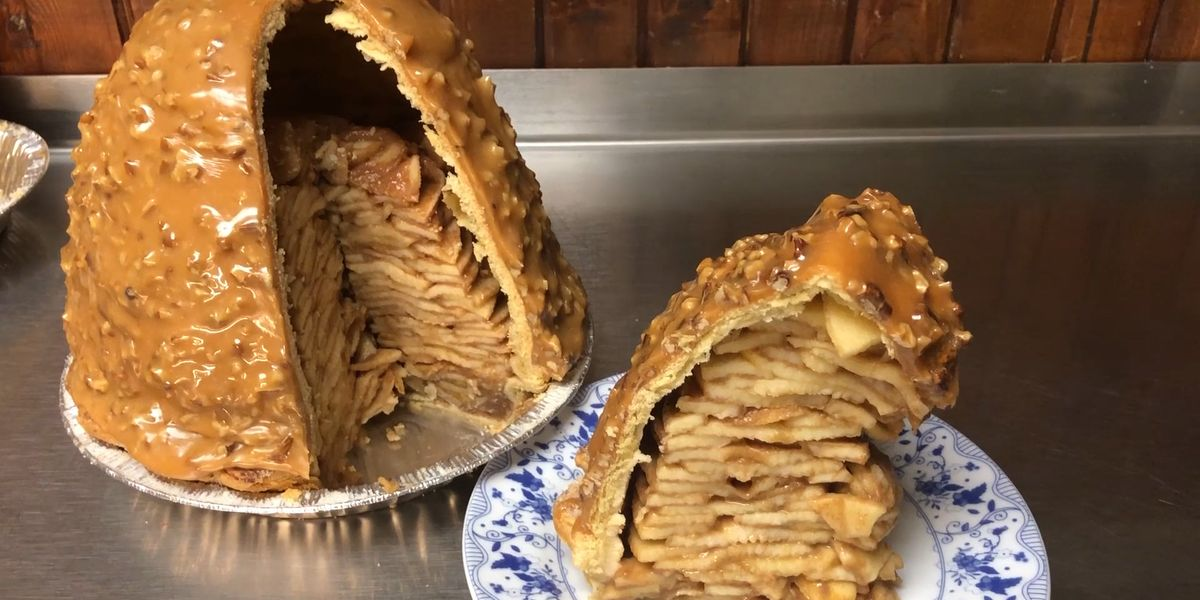This Crazy Tall Apple Pie Is Covered In Caramel Blue Owl