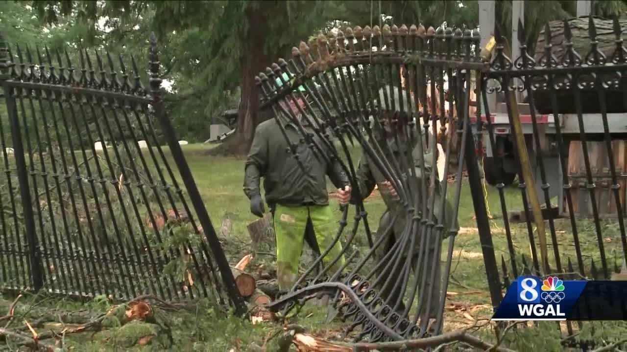 Historic fence in Gettysburg damaged during storm