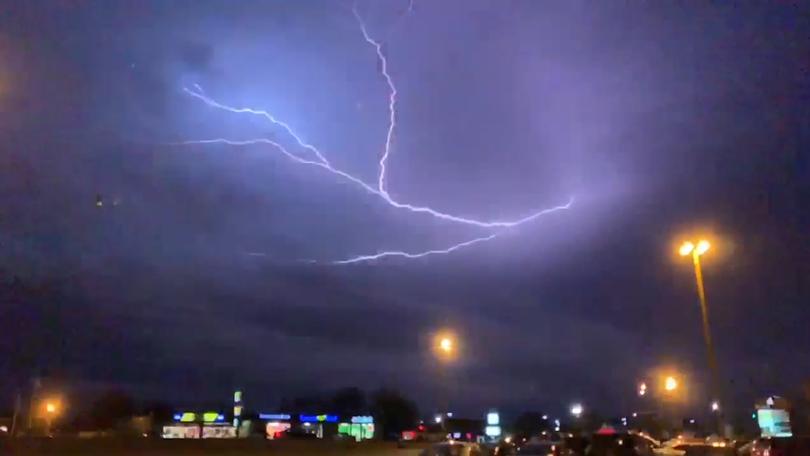 Slomo video shows lightning over Hobby Lobby in Rogers