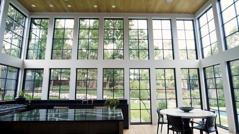 inside a dallas home's glass kitchen