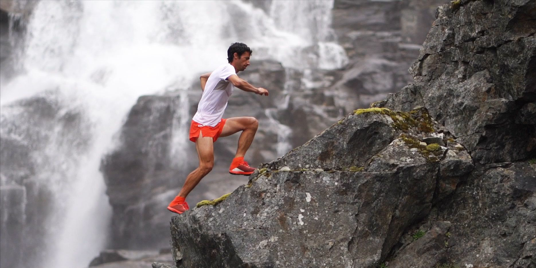 """Champion ultrarunner Kilian Jornet scales a mountain as part of his """"Summits of My Life"""" project."""