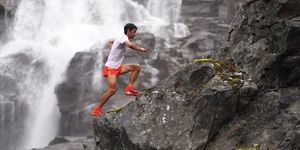 "Champion ultrarunner Kilian Jornet scales a mountain as part of his ""Summits of My Life"" project."