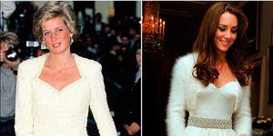 Lady Di y Kate Middleton con look idéntico con vestido de fiesta blanco